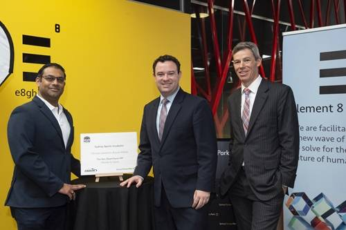 Harish Palagummi from Element 8 Ventures with Minister Stuart Ayres and CEO of Sydney Olympic Park Authority Charles Moore