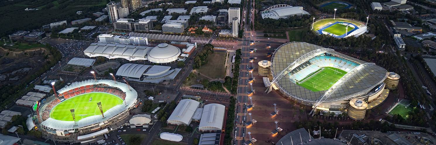 Sydney Olympic Park - Aerial of Sydney Olympic Park at Dusk - photography by Ethan Rohloff