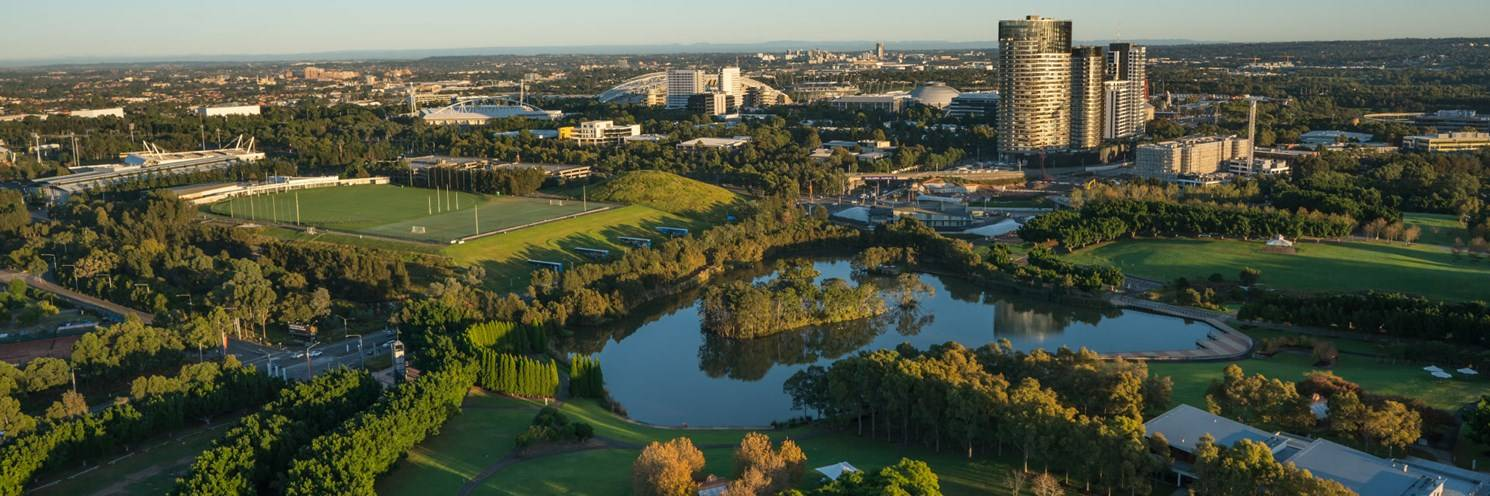 Aerial of Sydney Olympic Park - Photo by Ethan Rohloff