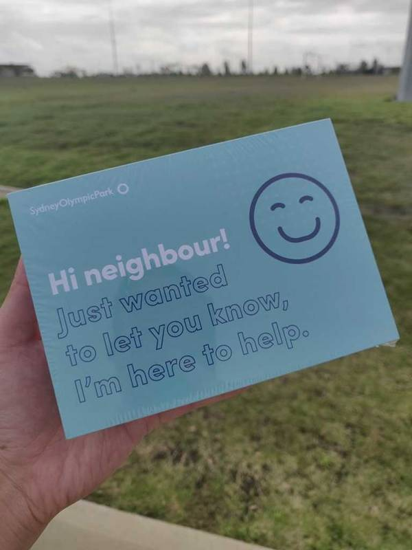Hi Neighbour check in card at Sydney Olympic Park
