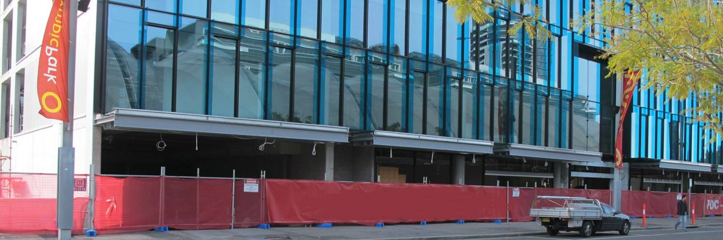 Murray Rose Ave - Fencing around building - photography by Sydney Olympic Park Authority