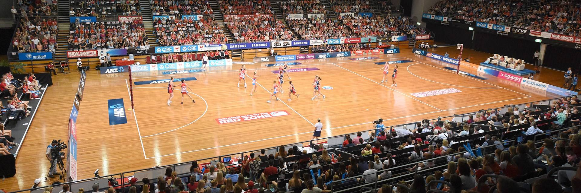 Sydney Olympic Park Sports Centre  - Sydney Swifts, court and crowd - Photo by Delly Carr